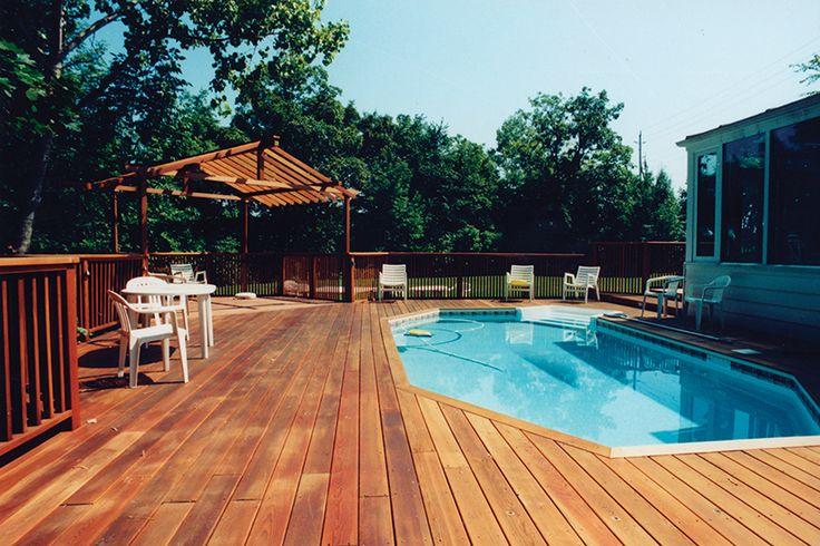 This is a 3,000 square foot deck in Waterdown Ontario using clear BC western red cedar. The pool is an onground pool with the deck built around it.