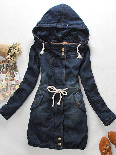2013 Venta caliente Mujeres del invierno Cubre Denim grueso largo de algodón de manga Jeans abrigo caliente Mujer Plus Tamano de Shipping ~ ...