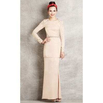 Modern Baju Kurung with Lace Embellishment in Cream