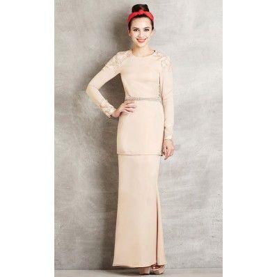 Modern Baju Kurung with Lace Embellishment in Cream