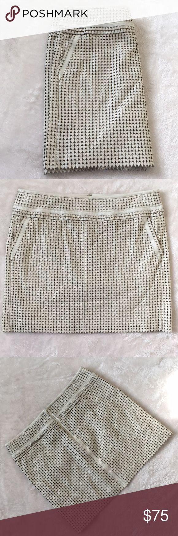 Tory Burch Cream Leather Hearts Skirt Tory Burch Cream Leather Hearts Skirt Size 10 Tory Burch Skirts