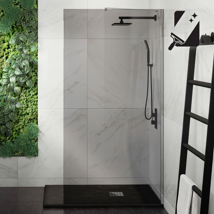 1000mm 8mm Designer Easyclean Smoked Glass Wetroom Panel Glass Shower Panels Glass Shower Smoked Glass
