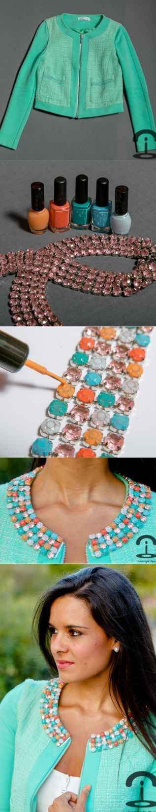 DIY Colorful Strass Jacket. Love this idea for jewelry!!