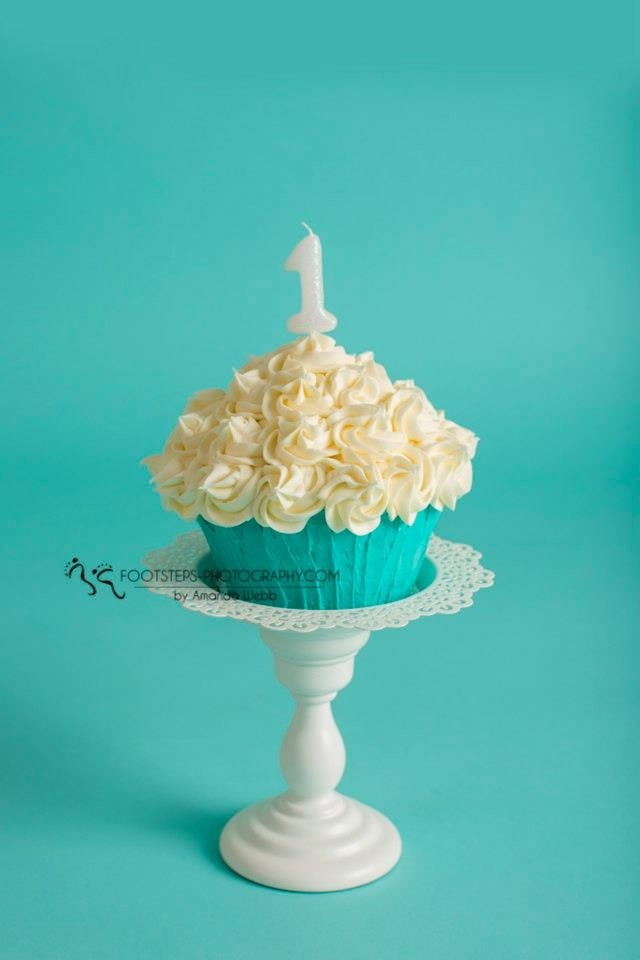 Teal giant cupcake smash cake by Cake, Love, Crossbones by Holland and photo by Footsteps Photography by Amanda