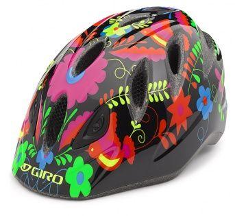 Dětská cyklistická In-moldová helma s integrovanou blikačkou pro naprostou bezpečnost a comfort i pro ty nejmenší v černém provedení s barevnými kytičkami.