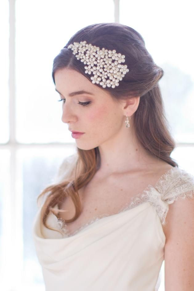 half up hald down wedding hairstyle with pearl headpieces