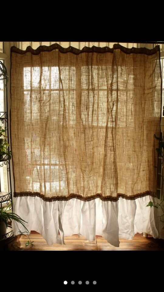 Burlap curtains | Kitchen: The Vegan Kind! | Pinterest