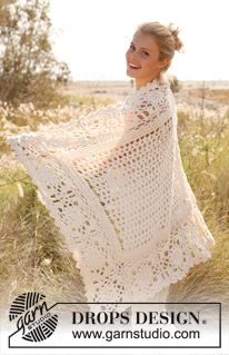 "Crochet DROPS blanket with squares and fan pattern in ""Big Merino"". ~ DROPS Design"