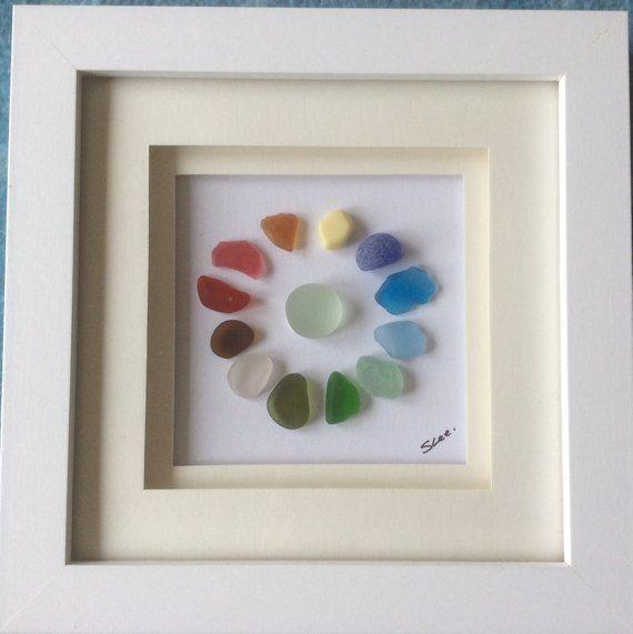 Rainbow seaglass framed picture, colourful Scottish sea glass art ...