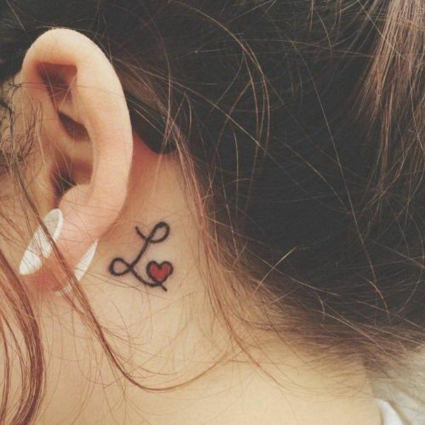 Letter L with a Red Heart Behind The Ear Tattoo.