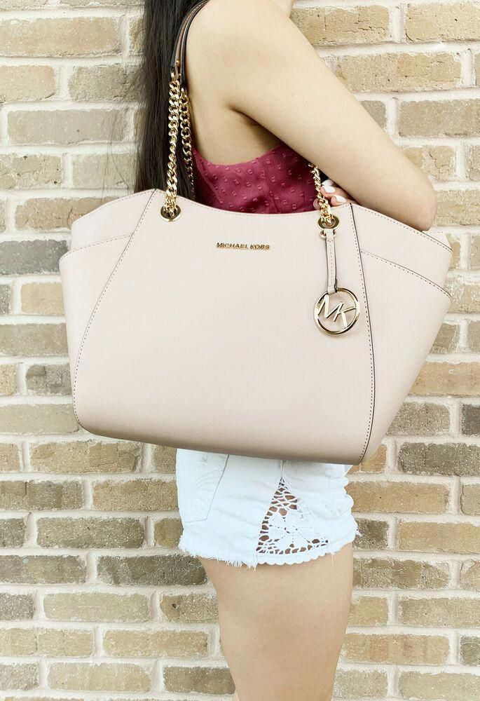 064b341ef357 Michael Kors Jet Set Travel Chain Shoulder Tote Signature Ballet Pink 2019 # MichaelKors #Tote