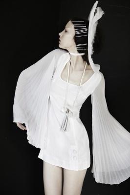 Model wears Gail Sorronda Chaplin dress.
