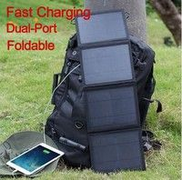 Home | Suaoki  25W Waterproof Quadruple Solar Panel Charger High Efficiency Portable Foldable Dual-Port USB Charger with TIR-C Technology