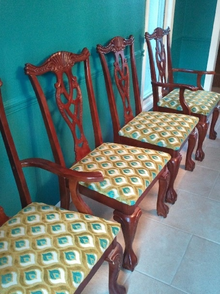 Reupholstered Chippendale Chairs With Hamilton Grenoble Fabric