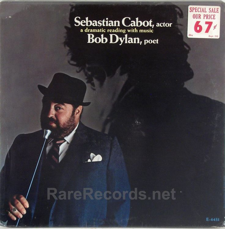 Sebastian Cabot - Sebastian Cabot, Actor - A Dramatic Reading With Music - Bob Dylan, Poet (MGM; 1967) Awesome LP of Sebastian Cabot reading Dylan lyrics to an orchestral background. Better than you'd think. The copy shown is still sealed. #albums #records #vinyl #LP Click here to learn more about this record: http://www.rarerecords.net/store/sebastian-cabot-sebastian-cabot-actor-bob-dylan-poet-sealed-1967-lp/