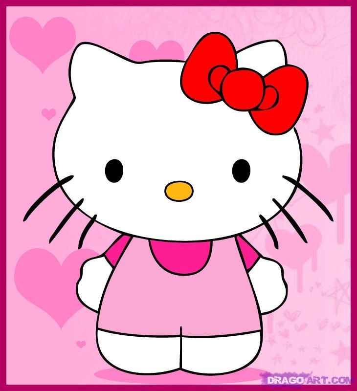 Cute Hello Kitty Pictures | how to draw a cute hip hello kitty