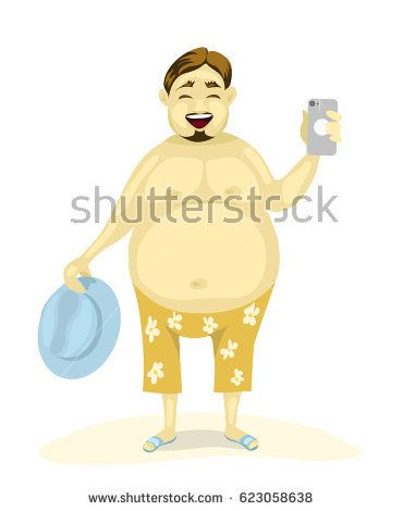 Fat happy joyful man in beach shorts with phone and hat makes a photo. Travel having a rest on the beach. Cartoon characters . illustration flat design.
