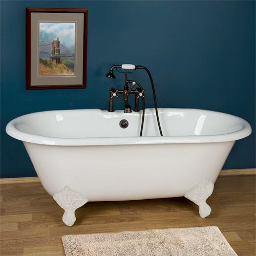 "Sanford Cast Iron Dual Clawfoot Tub on Imperial Feet - 60"" or  66"": Sanford Cast, Irons, Bathtubs, Dual Clawfoot, Clawfoot Tubs, Imperial Feet, Bathroom, Cast Iron"