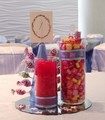 Candy And Popcorn Centerpiece For Wedding Tables