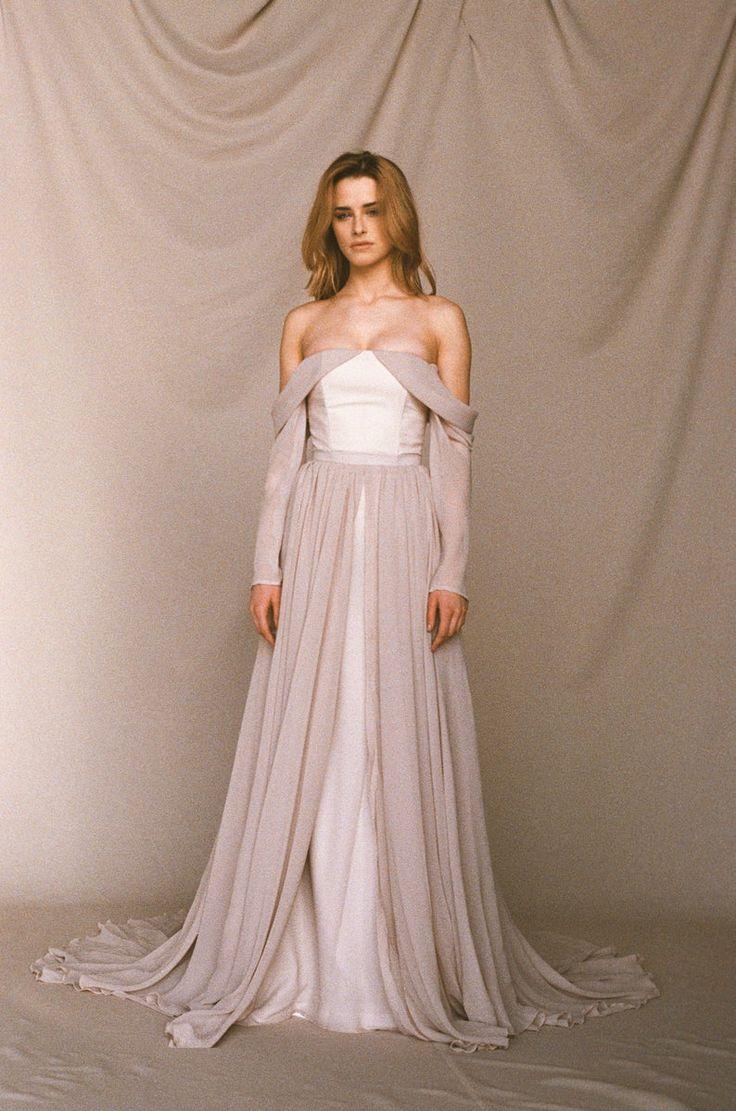 Beige offtheshoulder wedding dress long sleeve wedding