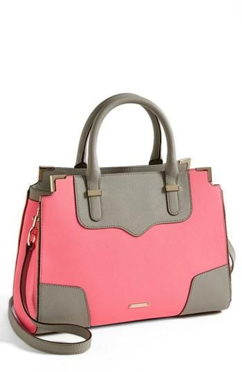Arm candy! Rebecca Minkoff Pink & Grey Leather Satchel