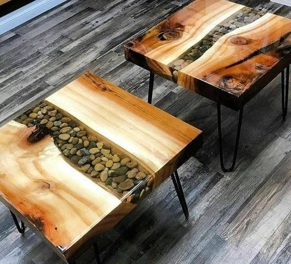 Unique Accent Table, River Table, Elm Side Table, Epoxy Resin River Table, Small End Table, Modern Bedside Table, Rustic Nightstand
