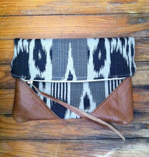 Leather and cotton clutch black and white TRAVEL by ArrowsDesign, $60.00