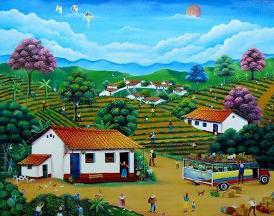 Paisajes y Bodegones de Gabriel Nieto Nieto: FINCA CAFETERA COLOMBIANA, OLEO SOBRE LIENZO, 65X90 CM.