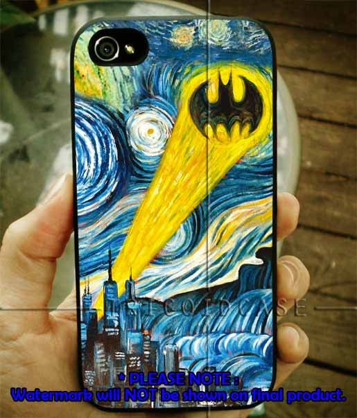 Batman Logo Stary Night iPhone Case 4 / 4S / 5 Case Samsung Galaxy S3 / S4 Case on Etsy, $14.99