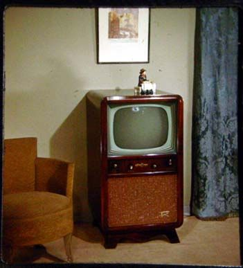 Vintage black & white television set