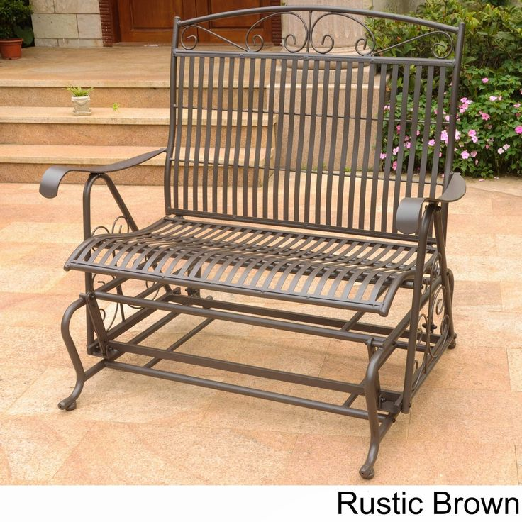 International Caravan Mandalay Iron Double Glider Bench Seat (Rustic Brown), Patio Furniture