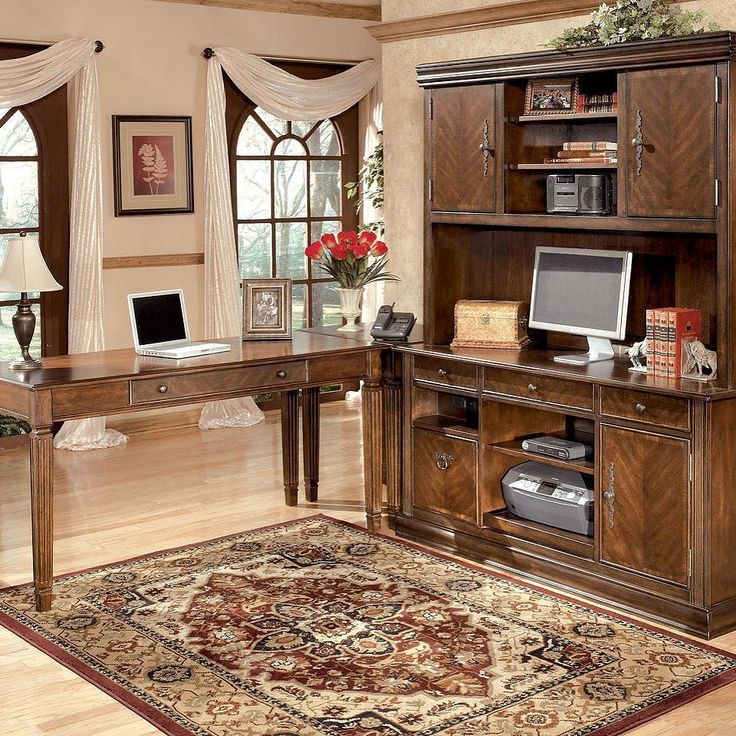 That Furniture Outlet - Minnesota's #1 Furniture Outlet. We have exceptionally low everyday prices in a very relaxed shopping atmosphere. Ashley Hamlyn - Large Leg Desk with Large Credenza Home Office Corner Table & Tall Desk Hutch thatfurnitureoutlet.com #thatfurnitureoutlet  #thatfurniture  High Quality. Terrific Selection. Exceptional Prices.