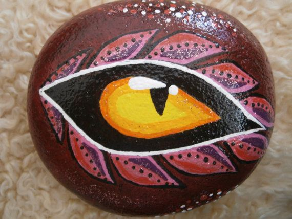 "Hand painted rock ""Dragon Eye"" - acrylic on rock - decorative or paperweight"
