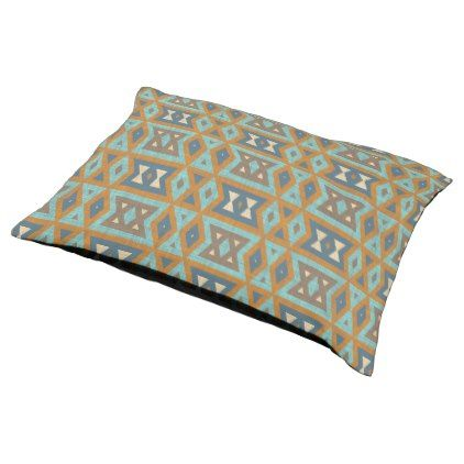 Teal Turquoise Orange Brown Eclectic Ethnic Look Pet Bed - rustic gifts ideas customize personalize