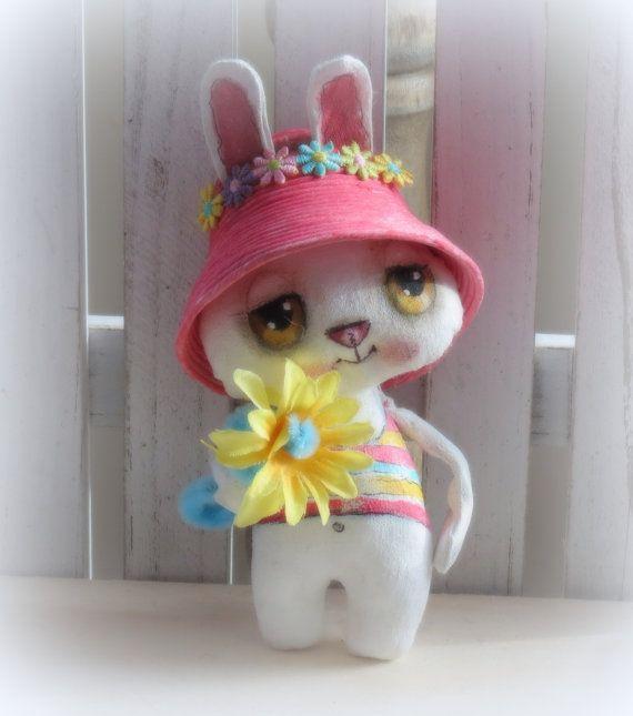 Bunny hand painted cloth doll for Spring от suziehayward на Etsy