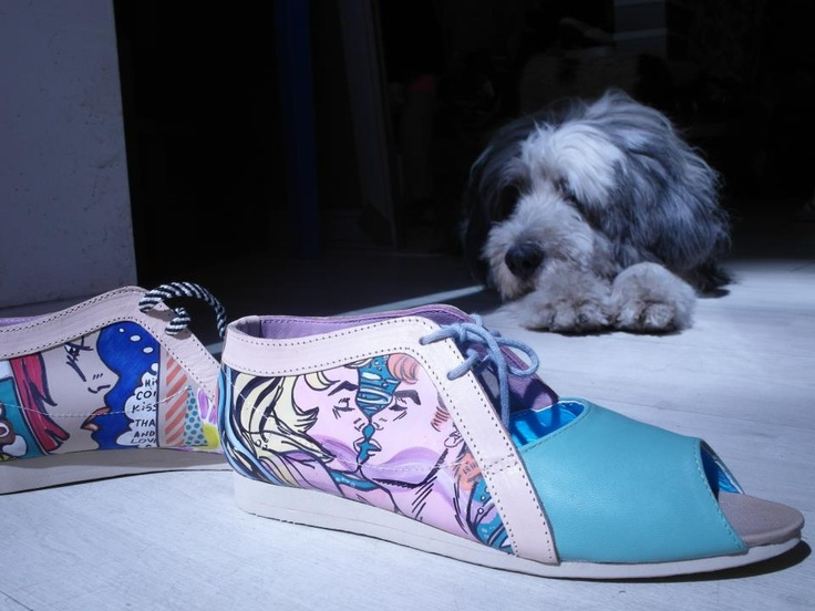 Pleasemachine <3 Roy Lichtenstein   Handcrafted leather peep toes  Unique. Collectibles