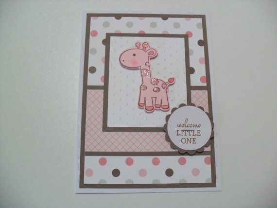 This adorable giraffe card is perfect for a welcoming a baby girl into the world. Great for baby showers too!    Details:  -Giraffe is die cut from