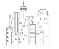 Картинки по запросу контурные рисунки  город