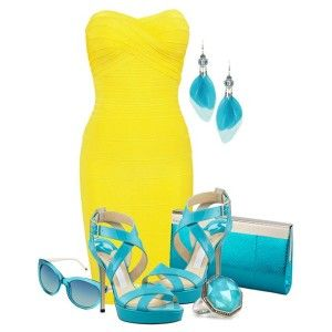 С чем носить бирюзовые босоножки: ярко-желтое платье, бирюзовый клатч, украшения в тон
