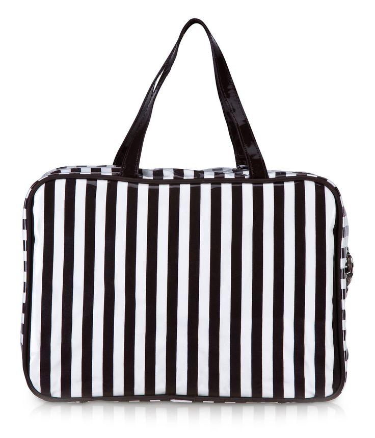 brown & white stripe large hanging weekender bag - cosmetic bag - designer cosmetic cases