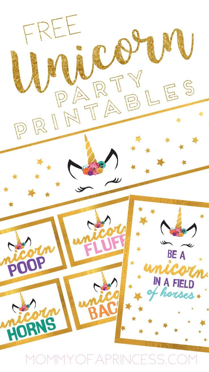This is a graphic of Wild Free Unicorn Birthday Printables