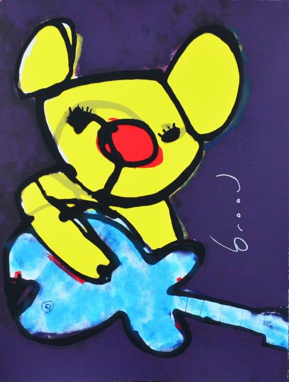 Dit is een: Zeefdruk hand gesigneerd, titel: 'Beertje' kunstwerk vervaardigd door: Herman Brood