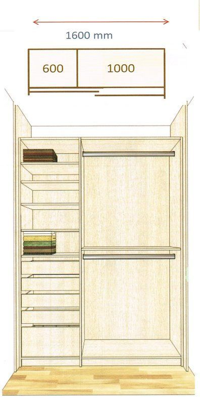 Эскиз шкафа без дверей