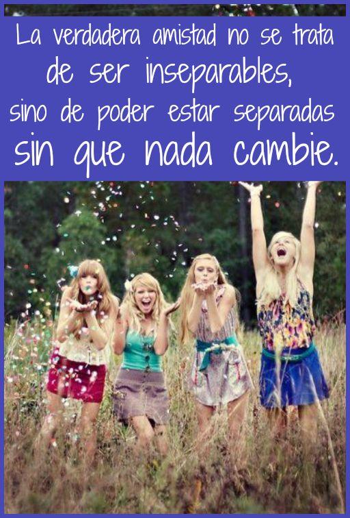 #Frases La verdadera #amistad no se trata de ser inseparables, sino de poder estar separadas sin que nada cambie.