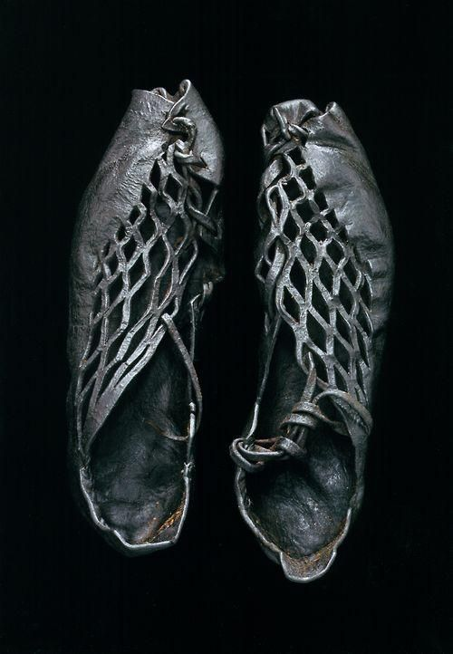 Iron Age shoes (ca. 400 BCE to 400 CE) found on body found in European bog Photo by Robert Clark, National Geographic