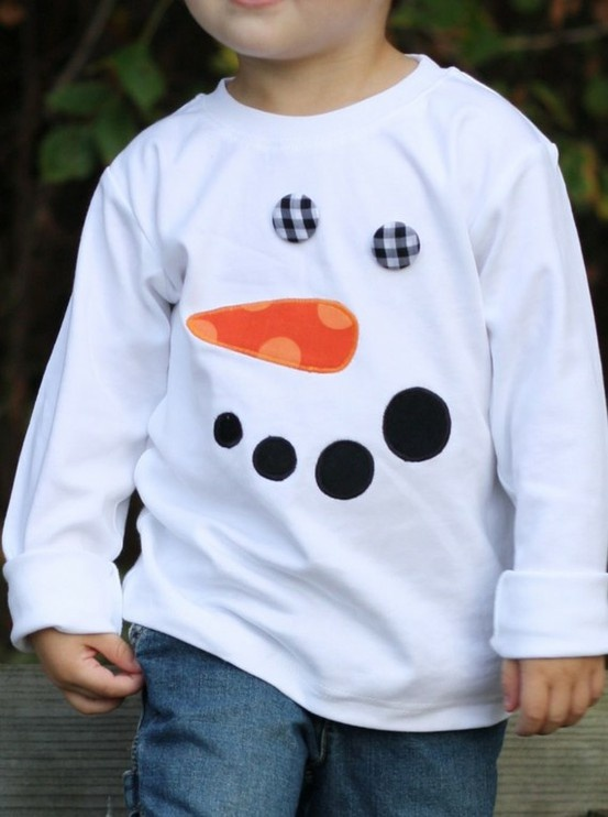 Snowman on tee- ANYONE can make this- really, if you know me and want to know how to make it no-sew, ask & I'll tell you how- Amy