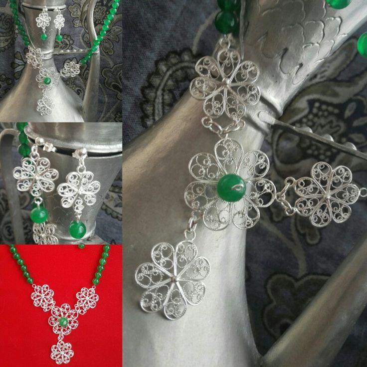 Set,ogrlica i naušnice Žad&srebrni filigran,ručni rad Jade&fina silver filigree,handmade