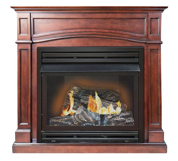 Features:  -Dual burner with thermostat.  -Thermostatic remote control.  -Dual fuel.  -Vent free.  Product Type: -Mantel and fireplace packages.  Finish: -Vintage cherry.  Style: -Rustic.  Fuel Type: