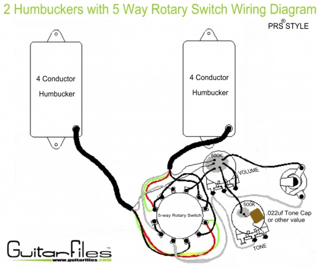 2 Humbuckers with 5 Way Rotary Switch Wiring Diagram