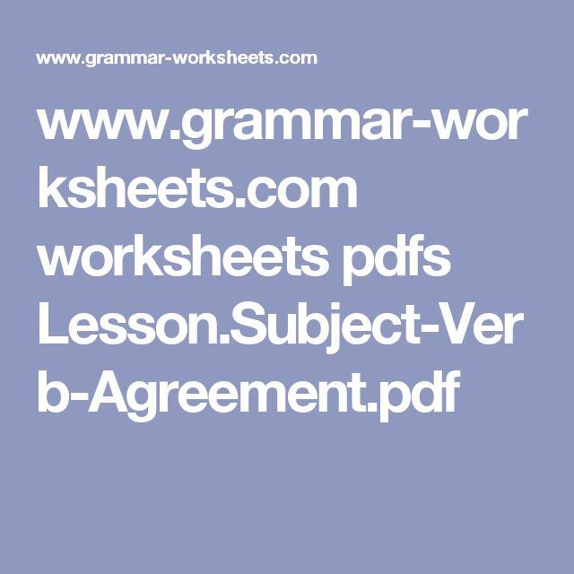 Más de 25 ideas increíbles sobre Subject verb agreement pdf en - agreement in pdf